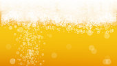 Beer fest background with realistic bubbles.  Cool liquid drink for pub and bar menu design, banners and flyers.  Yellow horizontal beer fest background in foam. Cold glass of ale for brewery design.