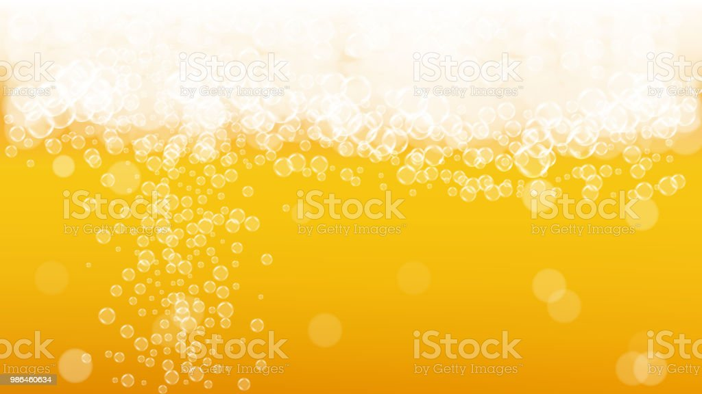 Beer background with realistic bubbles. vector art illustration
