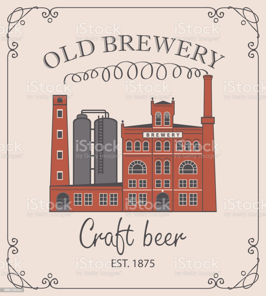 beer banner with brewery building in retro style vector art illustration
