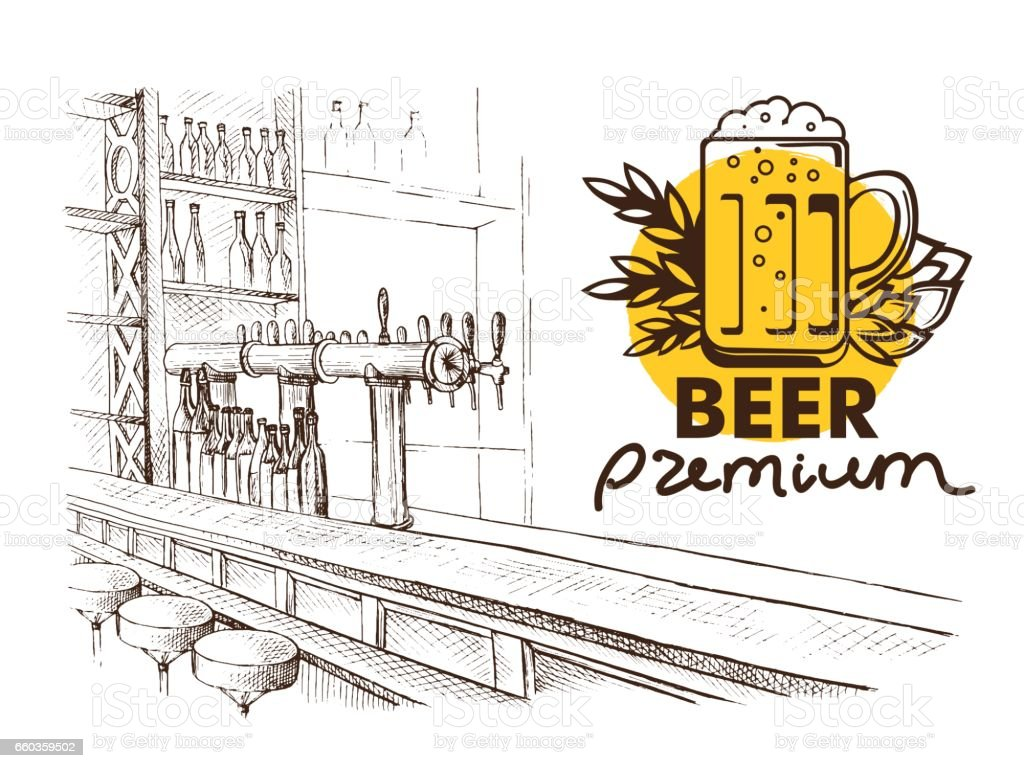 Beer bar pub, long table with chairs vector art illustration
