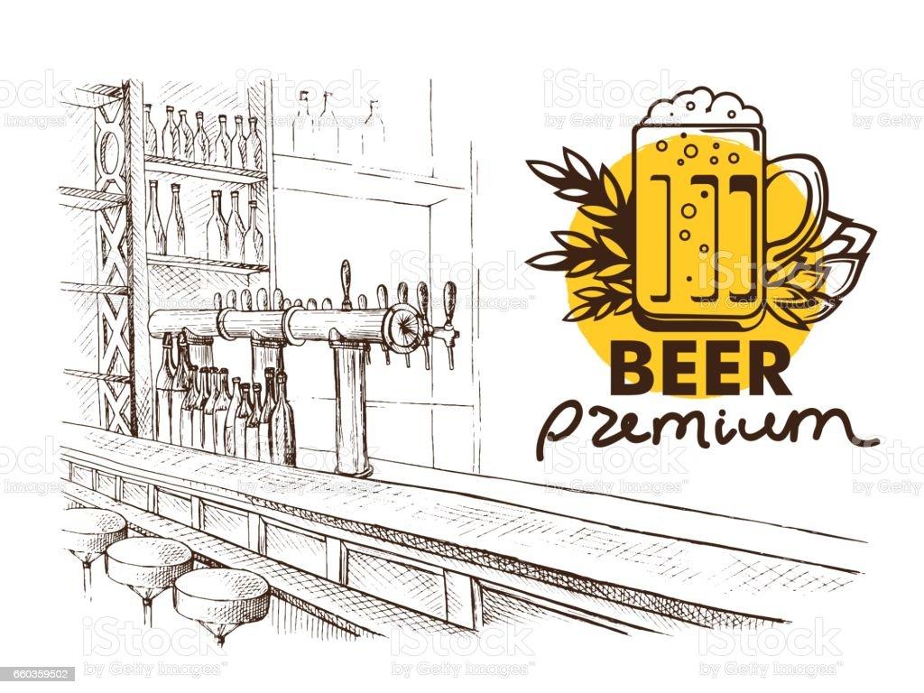 Bier-Bar-Pub, langen Tisch mit Stühlen – Vektorgrafik