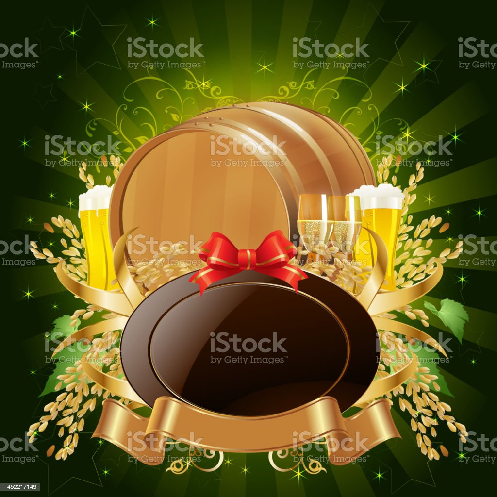 Beer Barrel with Golden Shield Banner royalty-free stock vector art