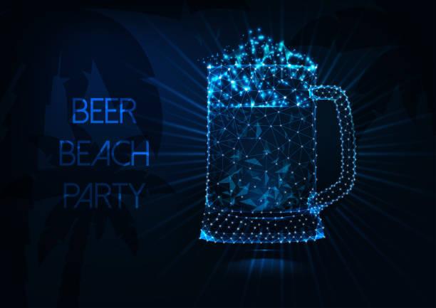 bildbanksillustrationer, clip art samt tecknat material och ikoner med beer beach party konceptet med glödande låg poly ölmugg, strålar, palmer och text på mörkblå. - summer sweden