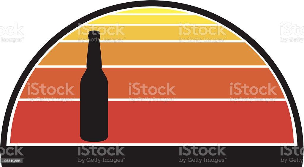 Beer Bottle Against Sunset royalty-free stock vector art