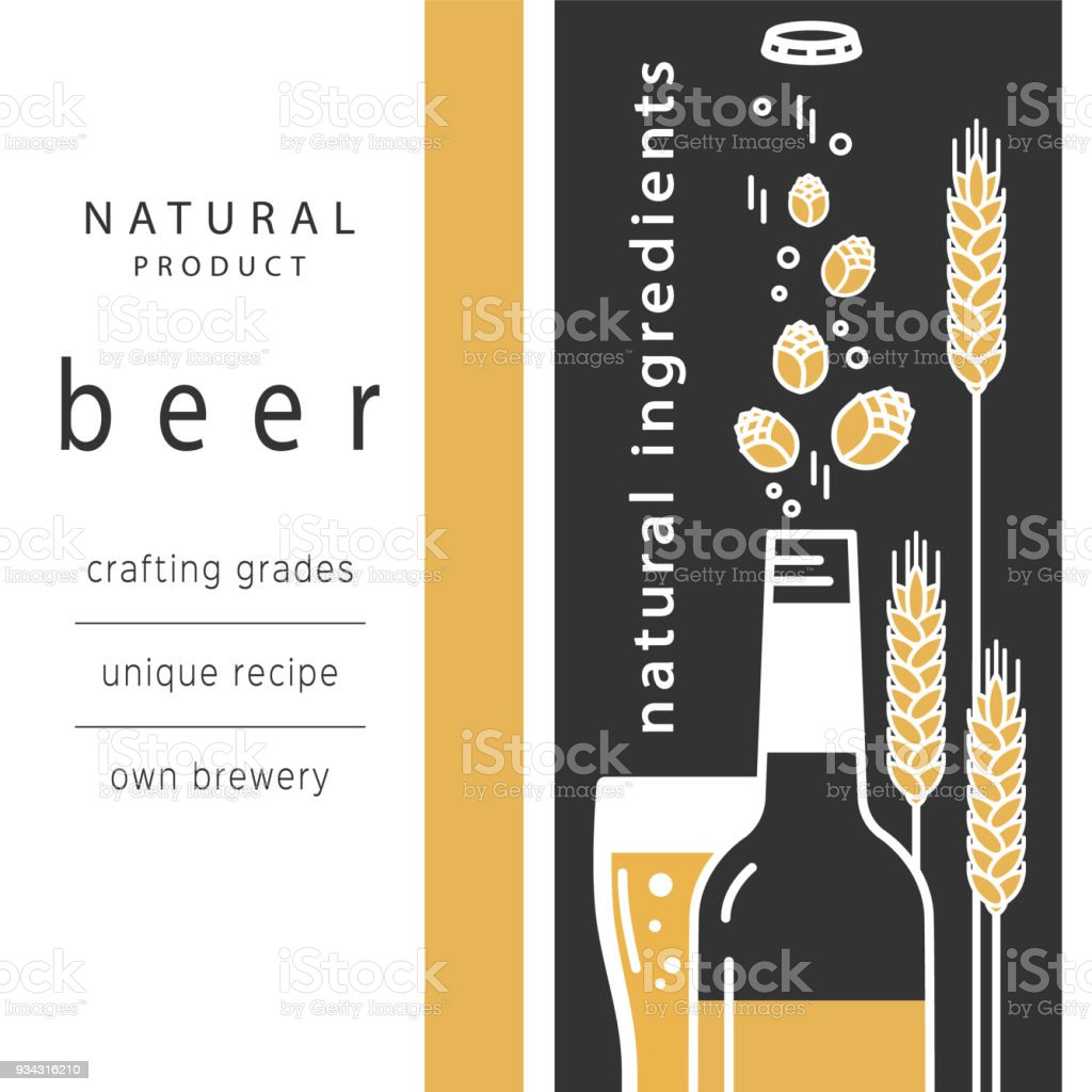 Download Beer Bottle And A Glass Vector Linear Icons With ...
