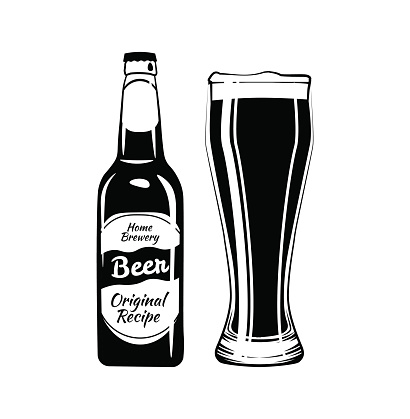 Download Beer Bottle And Glass Design Element An Isolated Object ...