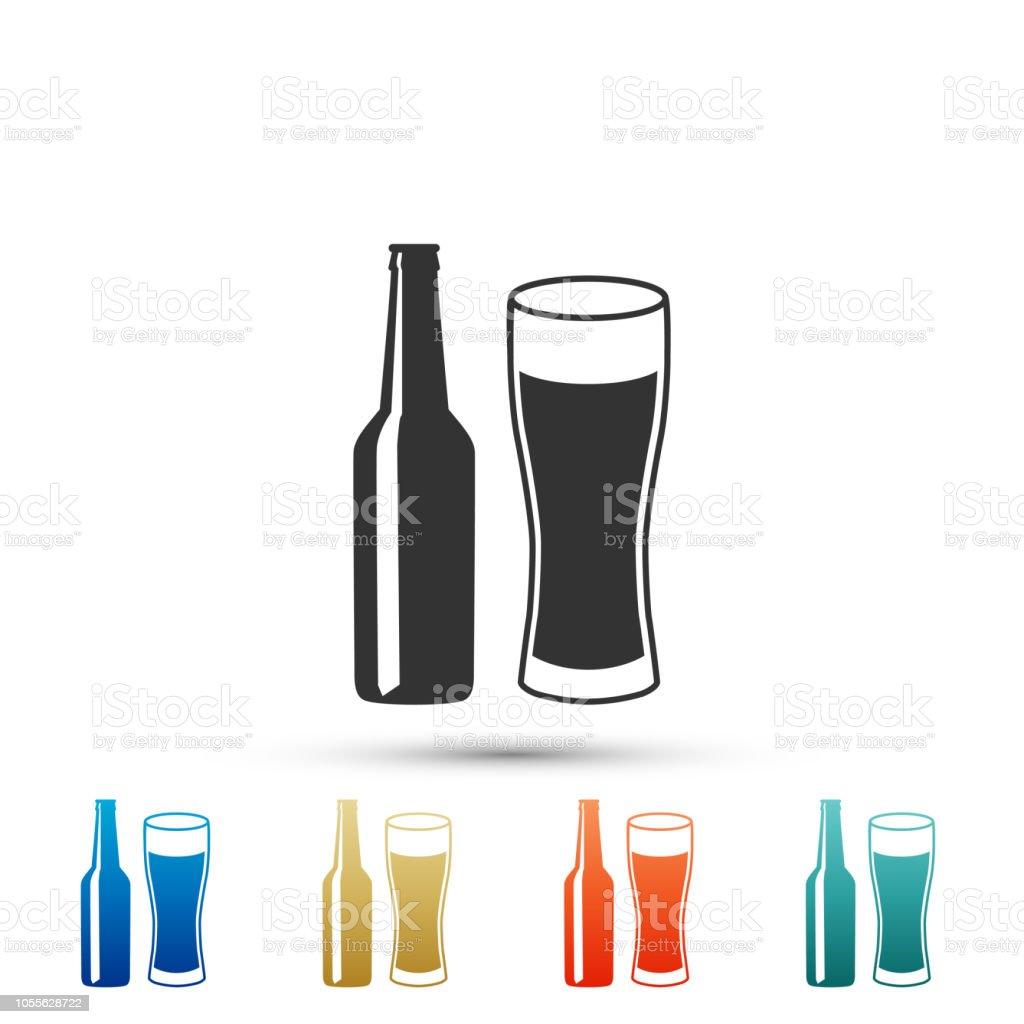 bière bouteille et verre icône isolé sur fond bleu symbole de boire