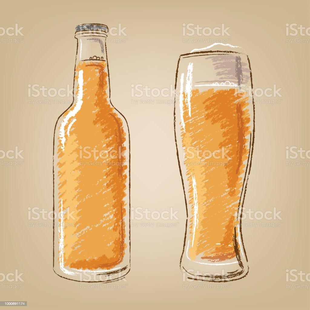 Bierflasche Und Glas Isoliert Vektoricons Set Stock Vektor Art und ...