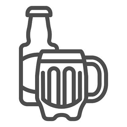 Beer bottle and glass line icon. Alcohol beverage vector illustration isolated on white. Bar outline style design, designed for web and app. Eps 10.