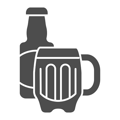 Beer bottle and glass solid icon. Alcohol beverage vector illustration isolated on white. Bar glyph style design, designed for web and app. Eps 10.