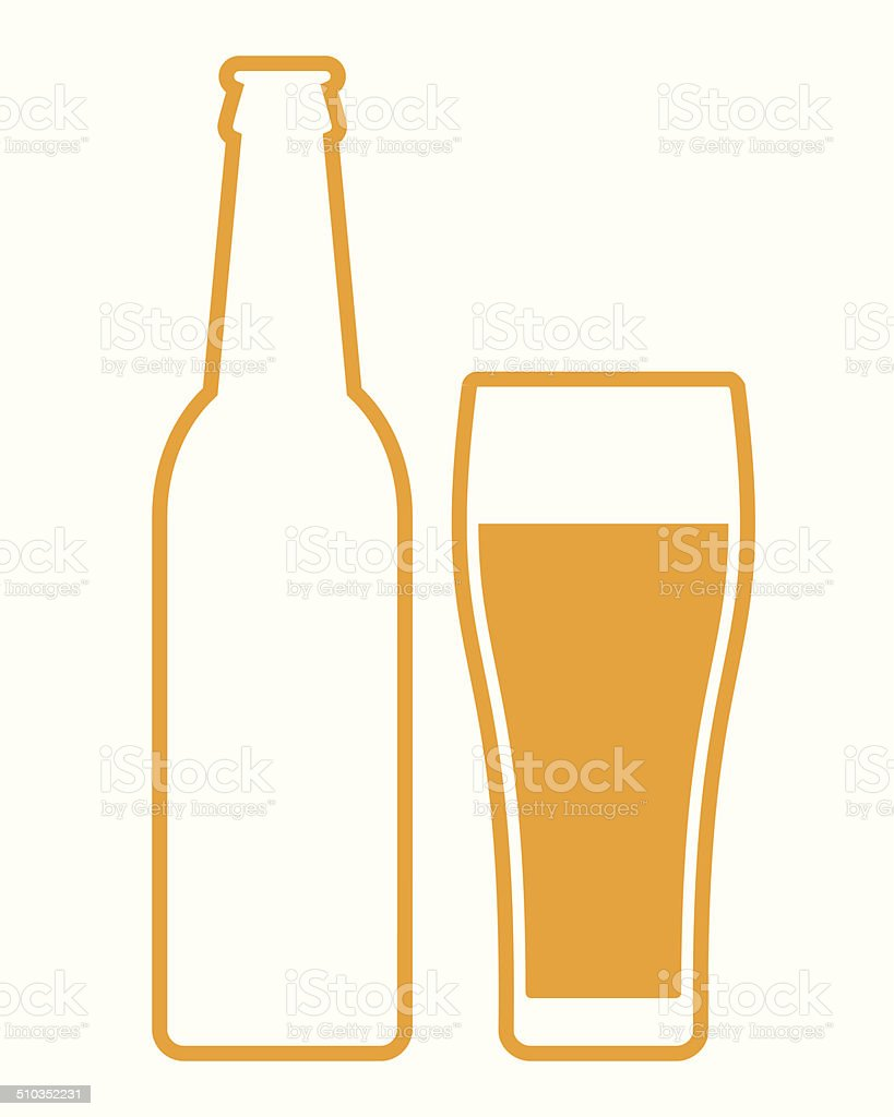 Beer bottle and glass vector art illustration