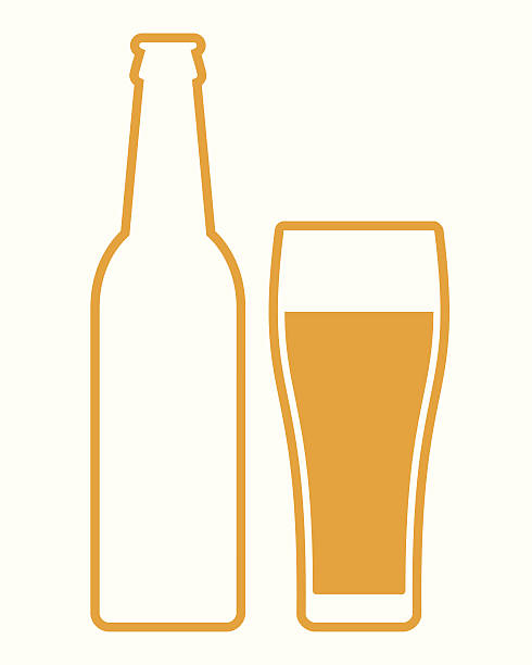 stockillustraties, clipart, cartoons en iconen met beer bottle and glass - bierfles