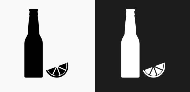 Beer Bottle and Lime Icon on Black and White Vector Backgrounds vector art illustration