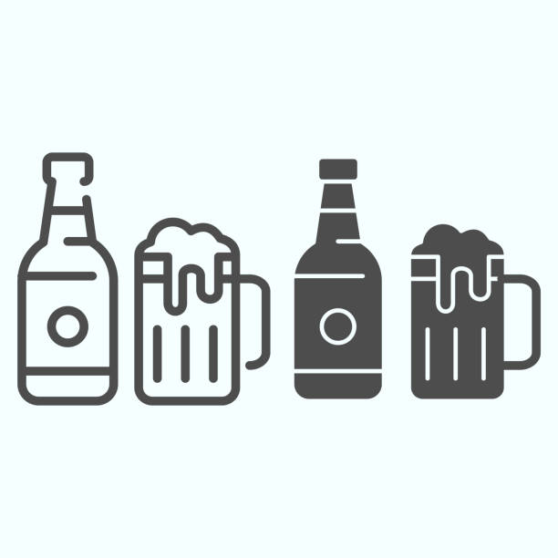 Beer bottle and mug line and solid icon. Bottle and glass of beer vector illustration isolated on white. Beer bottle and glass outline style design, designed for web and app. Eps 10. Beer bottle and mug line and solid icon. Bottle and glass of beer vector illustration isolated on white. Beer bottle and glass outline style design, designed for web and app. Eps 10 ale stock illustrations