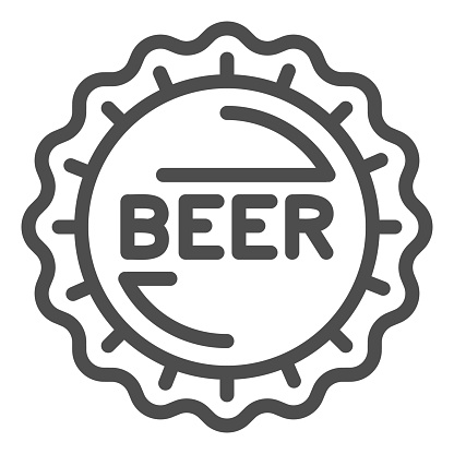 Beer bottle cap line icon, Craft beer concept, Bar Stamp sign on white background, Bottle caps icon in outline style for mobile concept and web design. Vector graphics