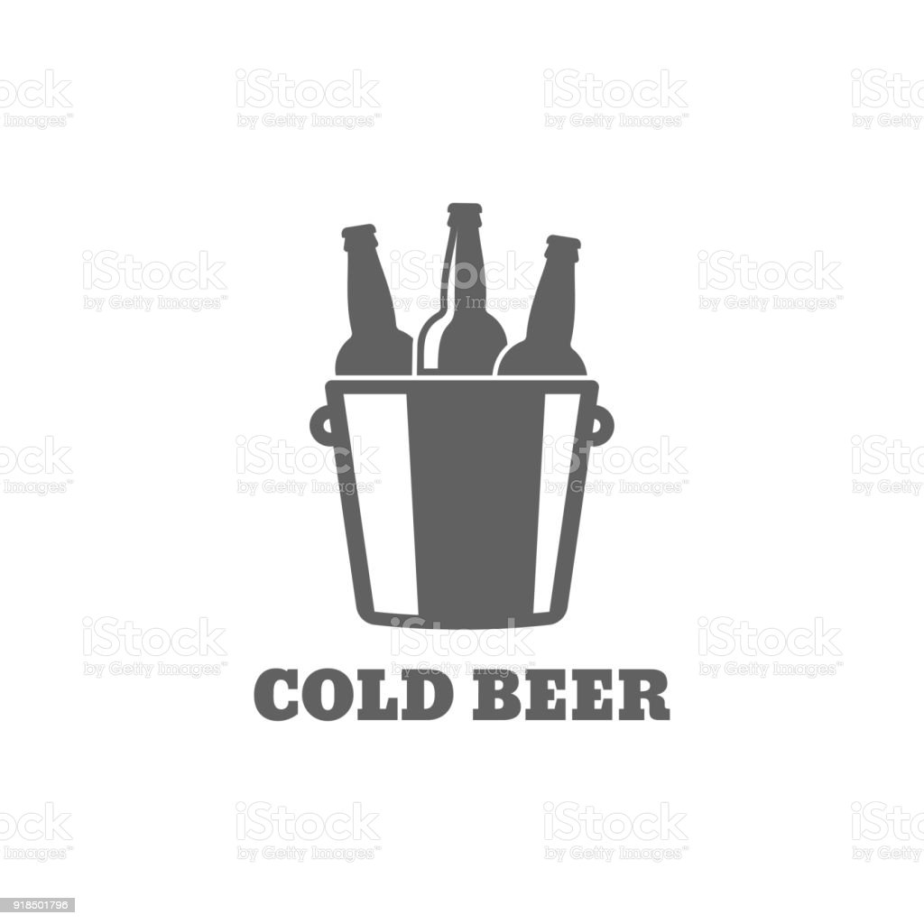 Beer bottle . Cold beer icon on white background vector art illustration