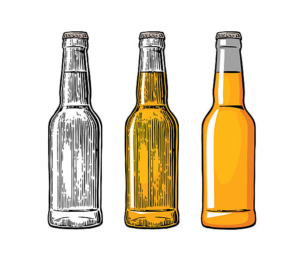 stockillustraties, clipart, cartoons en iconen met beer bottle. color engraving and flat vector illustration - bierfles