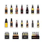 Beer bottle colored icon set