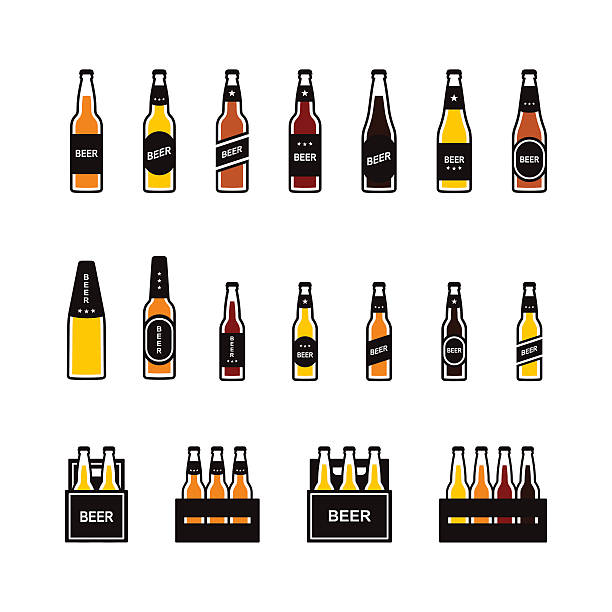 Beer bottle colored icon set vector art illustration