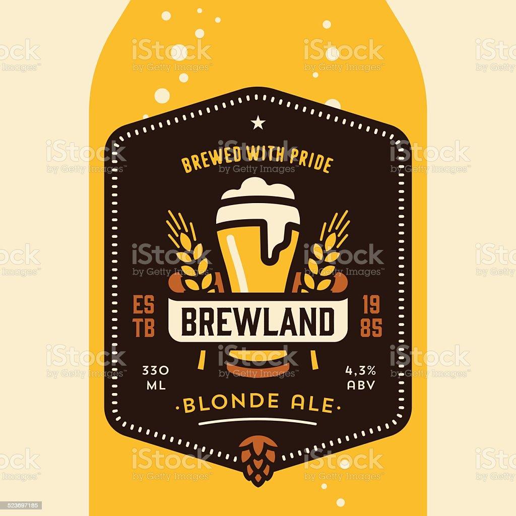 Beer bottle label design vector art illustration