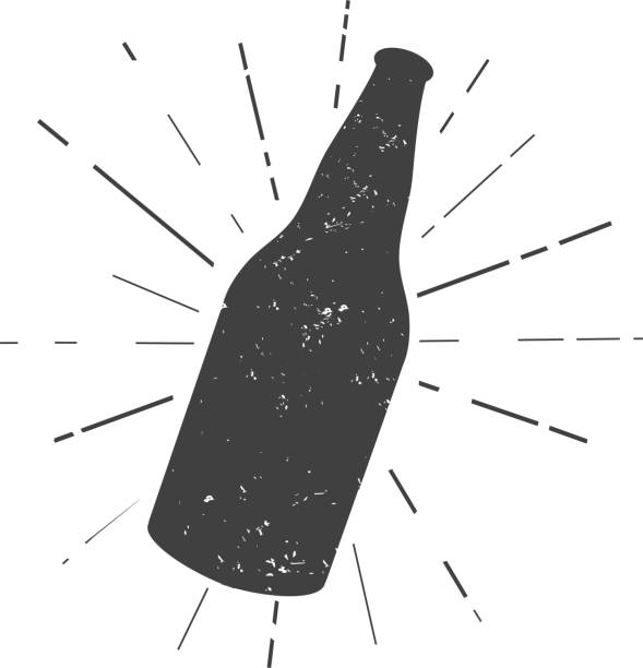 Beer bottle silhouette vector art illustration