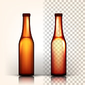 Beer Bottle Vector. Craft Cold Drink. Brewery Poster. Pub Refreshment. 3D Transparent Isolated Realistic Illustration
