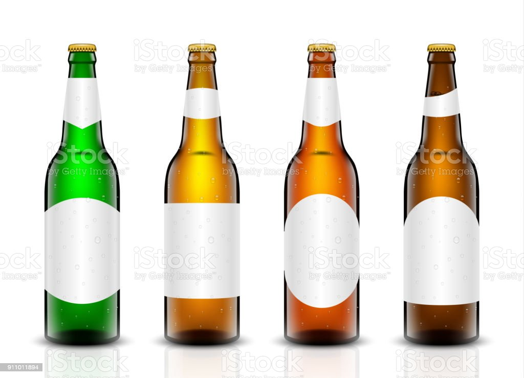 Beer bottle vector set. vector art illustration