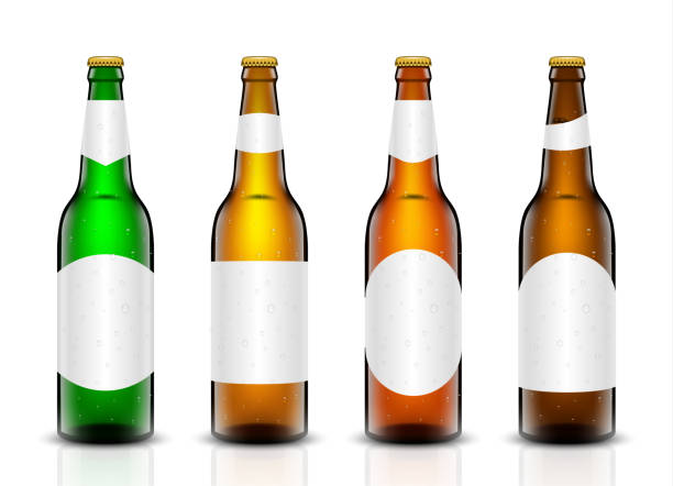 stockillustraties, clipart, cartoons en iconen met bier fles vector set. - bierfles