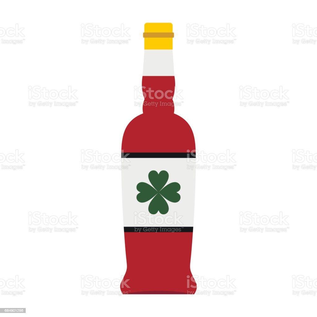 Bierflasche mit einem Kleeblatt auf der Label-Symbol Lizenzfreies bierflasche mit einem kleeblatt auf der labelsymbol stock vektor art und mehr bilder von alkoholisches getränk