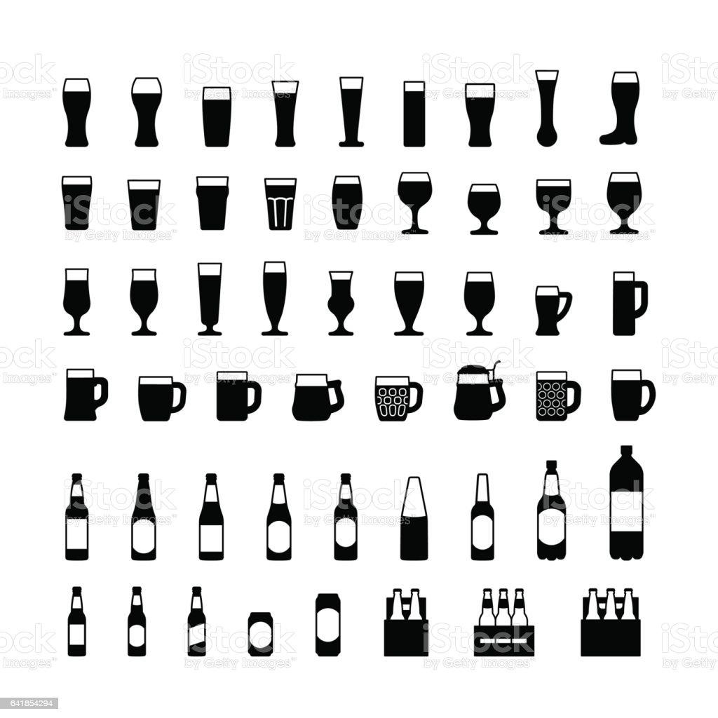 Bier-Flaschen und Gläser-schwarze Symbole-Satz. Vektor – Vektorgrafik