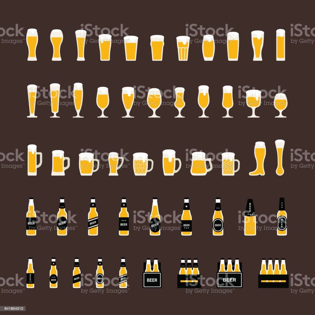 Beer bottles and glasses icons set in flat style. Vector vector art illustration