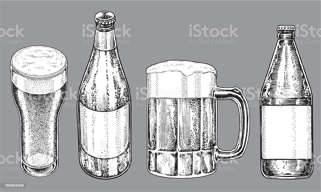Beer Bottles and Glasses royalty-free stock vector art