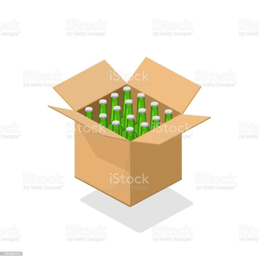 Bier-Flaschen Karton-Vektor-Illustration, 3d isometrische Cartoon Biere trinken Pack isoliert clipart – Vektorgrafik