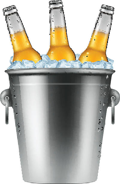 Beer bottles in an ice bucket. vector art illustration