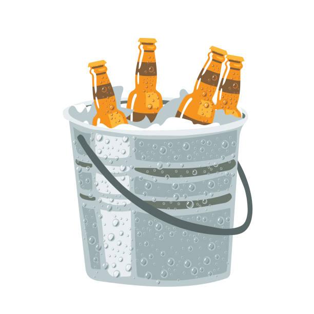 bierflaschen im eiskübel, isoliert auf weiss - hochschulgetränke stock-grafiken, -clipart, -cartoons und -symbole