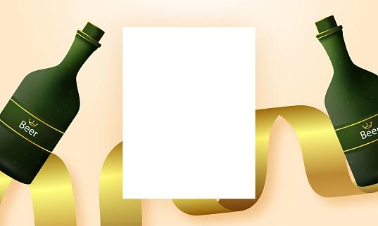 beer bottles isolated on a light background,white frames. Vector illustration