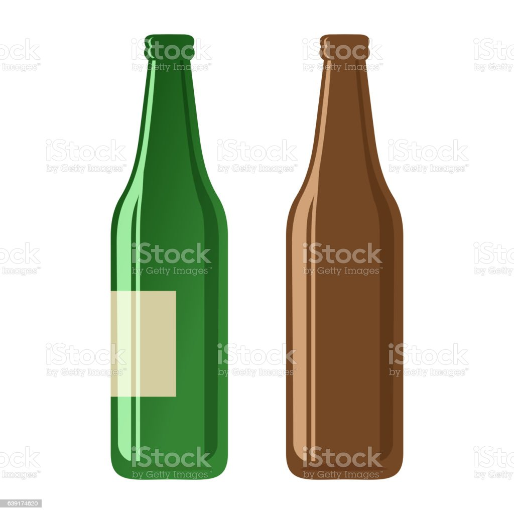 Beer bottles on a white background vector art illustration