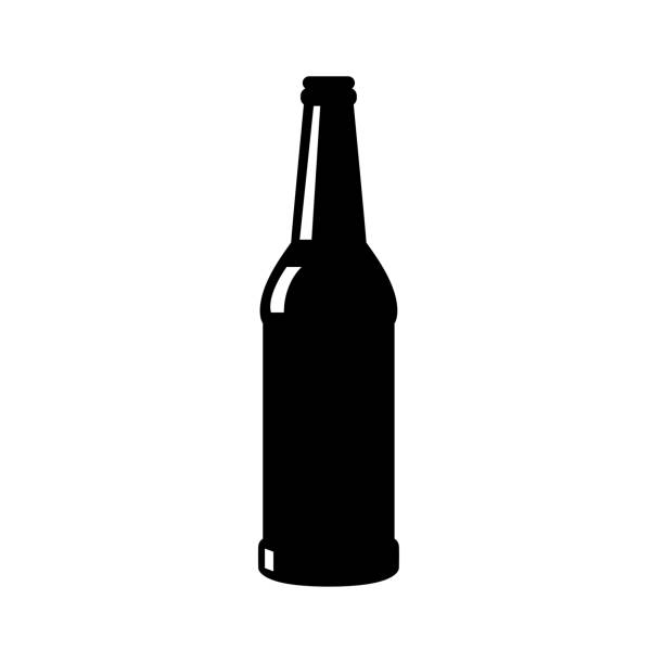 stockillustraties, clipart, cartoons en iconen met bier flessen silhouet vector pictogram - bierfles