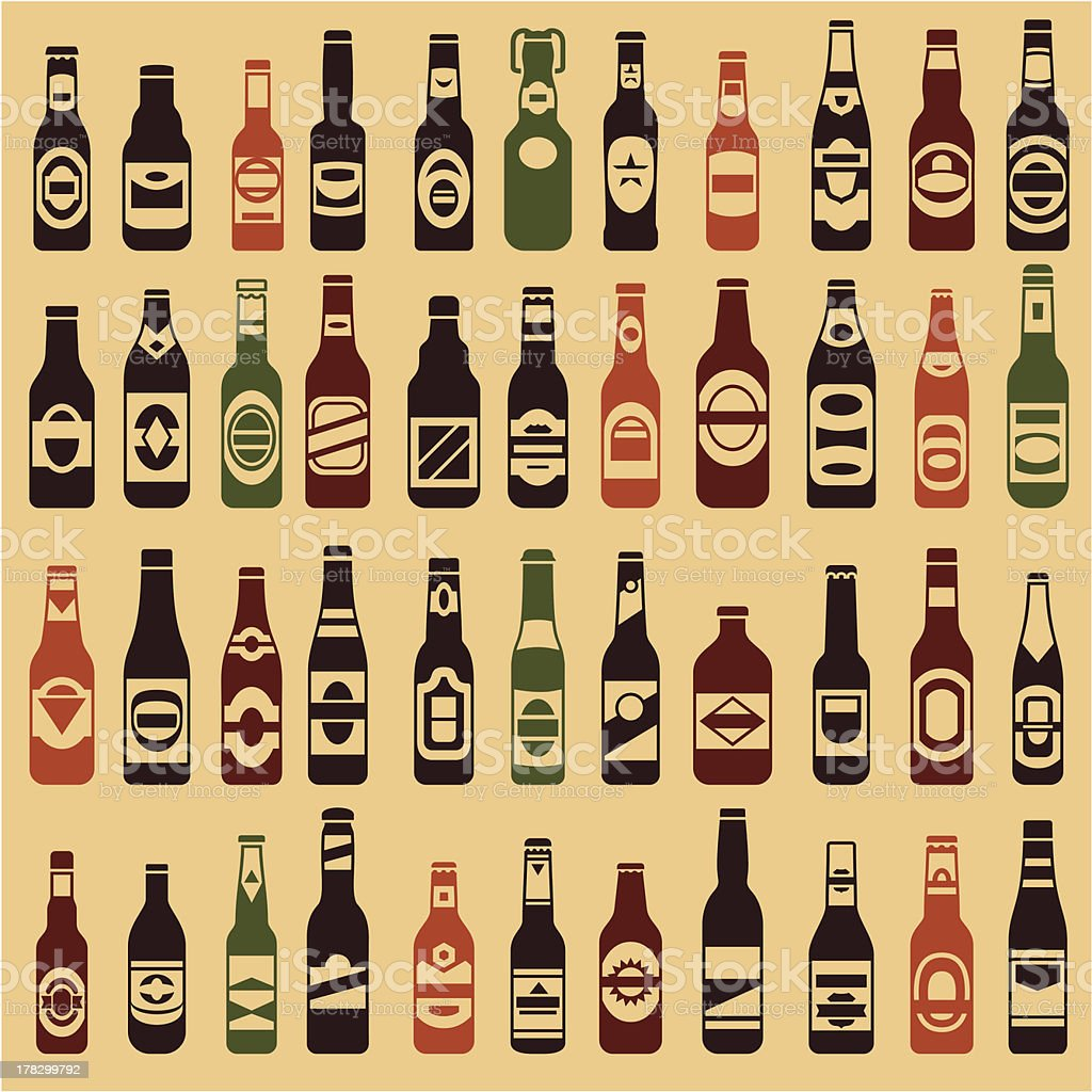 Beer bottles vector collection vector art illustration