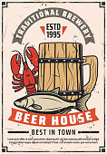 Beer house or brewery bar retro poster. Vector vintage advertisement design of craft draught beer in wooden mug with lobster crab or dry fish snacks, premium quality stars and ribbons