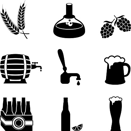 beer brewery process and equipment vector icon set