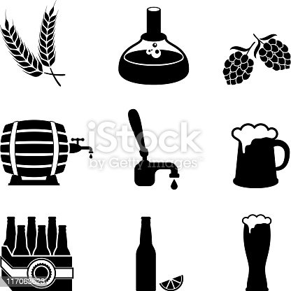 Beer Brewery Process And Equipment Vector Icon Set Stock