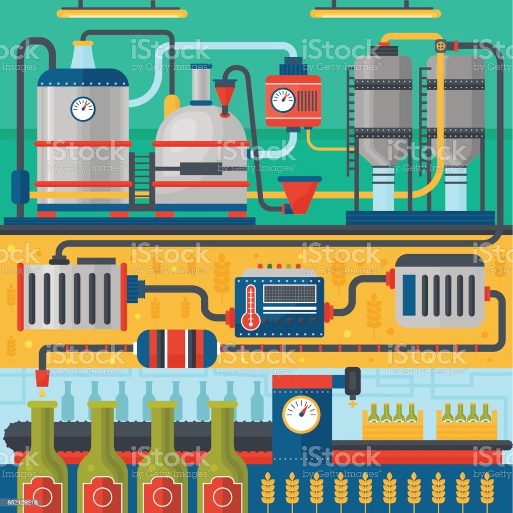 Beer Brewery production process. Factory beer background. Flat design vector illustration banners. vector art illustration