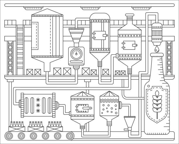 Beer Brewery production process. Line factory beer background. Outline stroke linear style vector illustration. vector art illustration