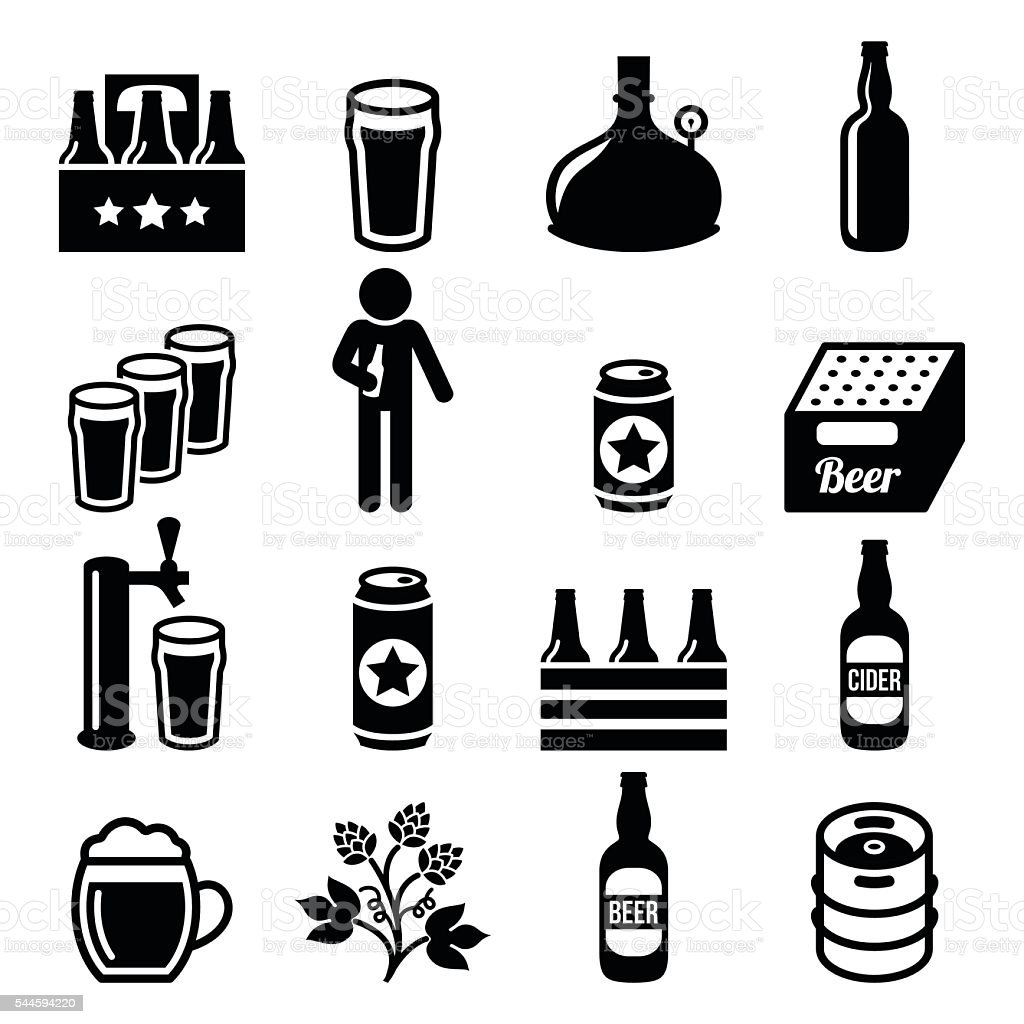 Cerveza, cervecería, vector conjunto de iconos de pub - ilustración de arte vectorial
