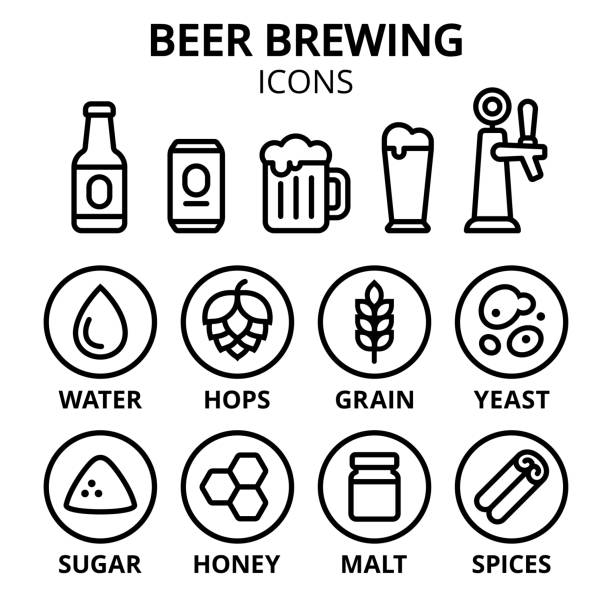Beer brewing icon set Beer brewing icon set. Beer making ingredients, glasses and containers. Simple line icons, vector illustration. beer stock illustrations