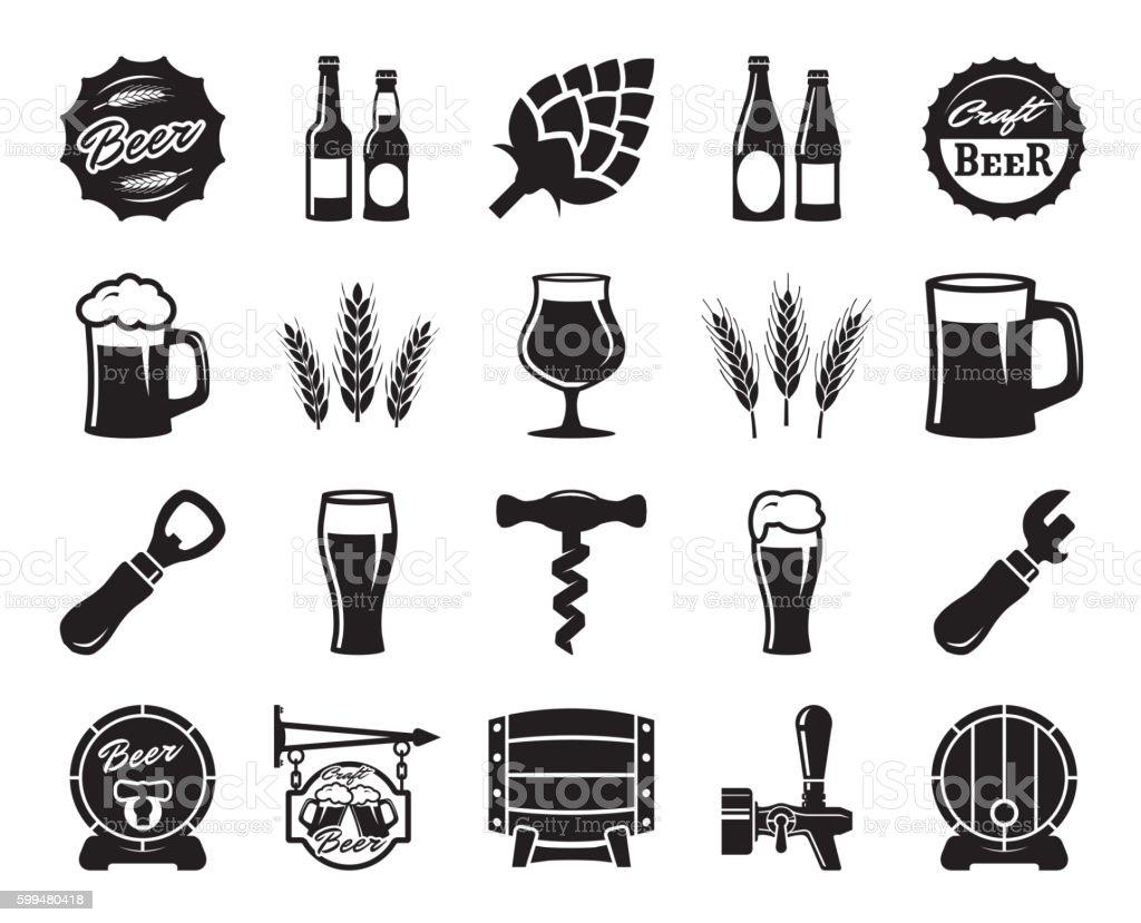 beer, brewing, ingredients, consumer culture. set of black icons - Векторная графика Алкоголь - напиток роялти-фри