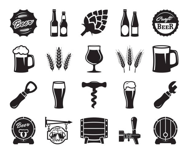 beer, brewing, ingredients, consumer culture. set of black icons beer, brewing, ingredients, consumer culture. set of black icons on a white background beer glass stock illustrations