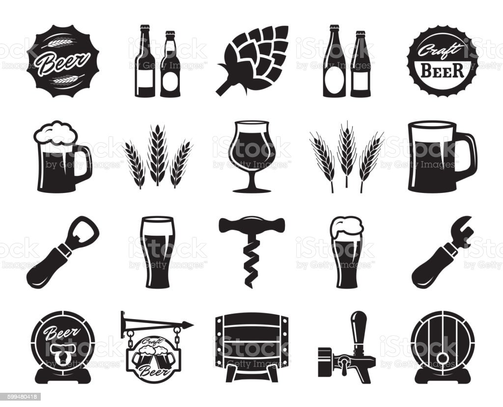 beer, brewing, ingredients, consumer culture. set of black icons - illustrazione arte vettoriale