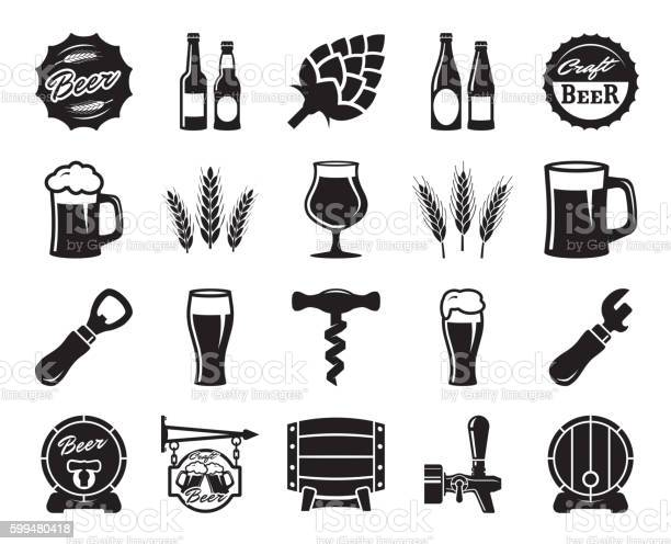Beer Brewing Ingredients Consumer Culture Set Of Black Icons 검은색에 대한 스톡 벡터 아트 및 기타 이미지